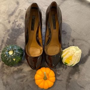 Zara Brown Patent Platform Pumps